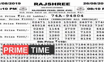 Rajshree Lottery Result 26.08.2019, 08.10 pm..