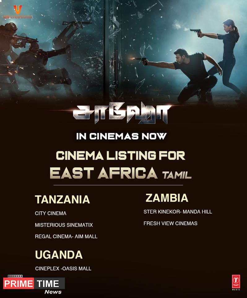 Saaho Movie Worldwide Theatre List - The PrimeTime