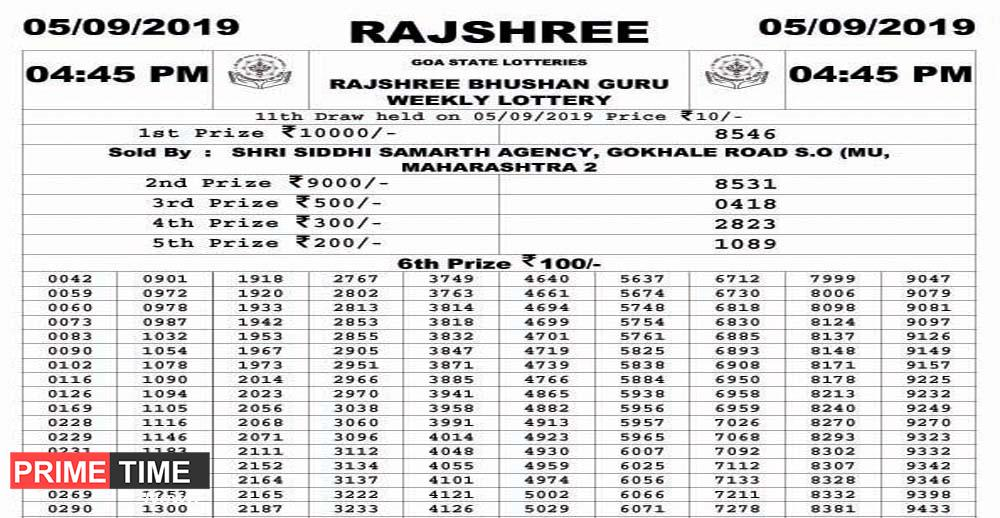 GOA STATE LOTTERIES RAJSHREE BHUSHAN GURU WEEKLY LOTTERY 05
