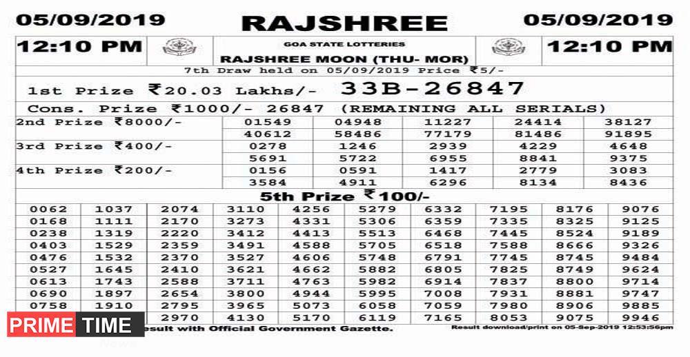 GOA STATE LOTTERIES RAJSHREE MOON (THU- MOR) 05/09/2019 12