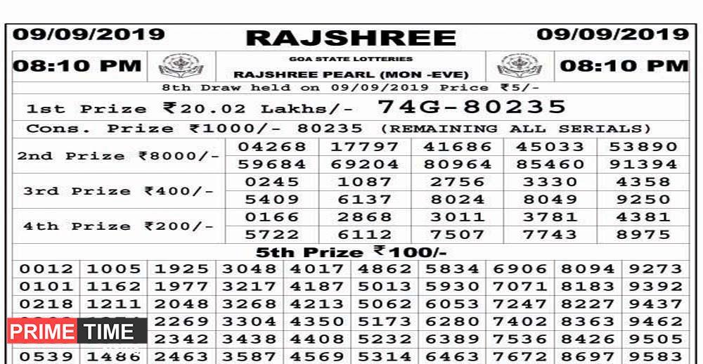 GOA STATE LOTTERIES RAJSHREE PEARL (MON -EVE) 09/09/2019 08
