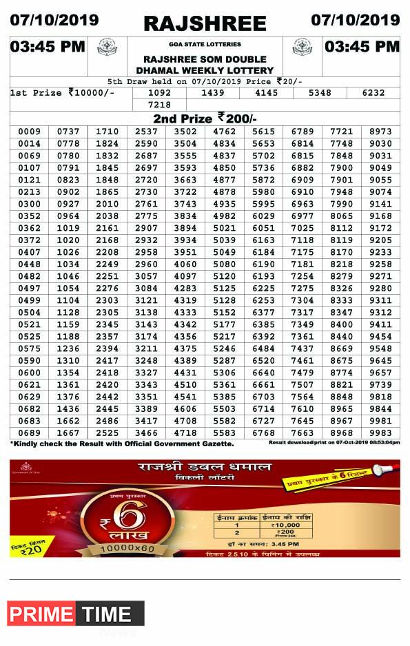 Rajshree Lottery Result 31.08.2019, 04.30 pm