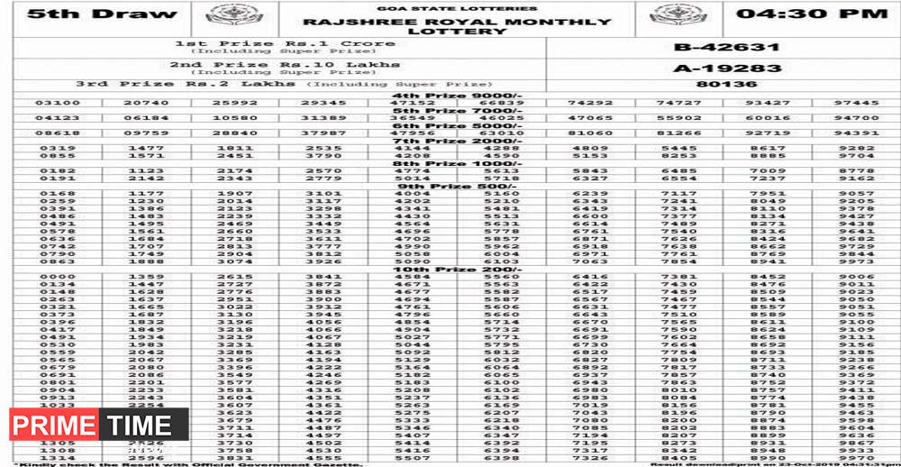 GOA STATE LOTTERIES RAJSHREE ROYAL MONTHLY LOTTERY RESULT