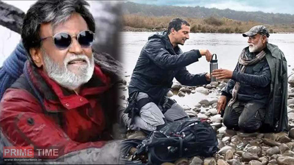 Rajini on Modi's path Rajinikanth at the Man Versus Wild event with Bear Grylls