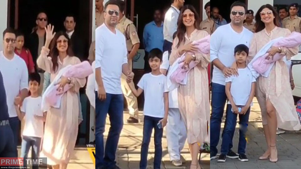 Shilpa Shetty arrives in Mumbai with little angel, video viral on social media