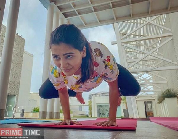 Samantha Practising Yoga