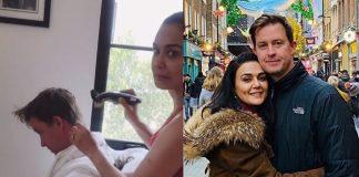 Preity Zinta cut her husband's hair