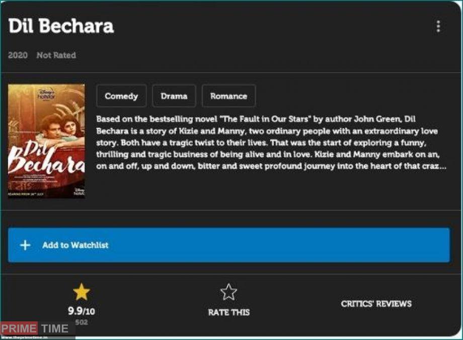 Dil Bechara IMDB Rating