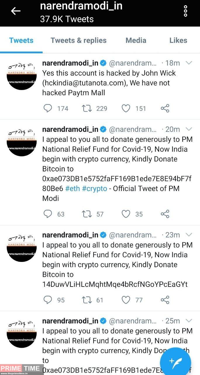 Narendra Nodi Twitter account hacked