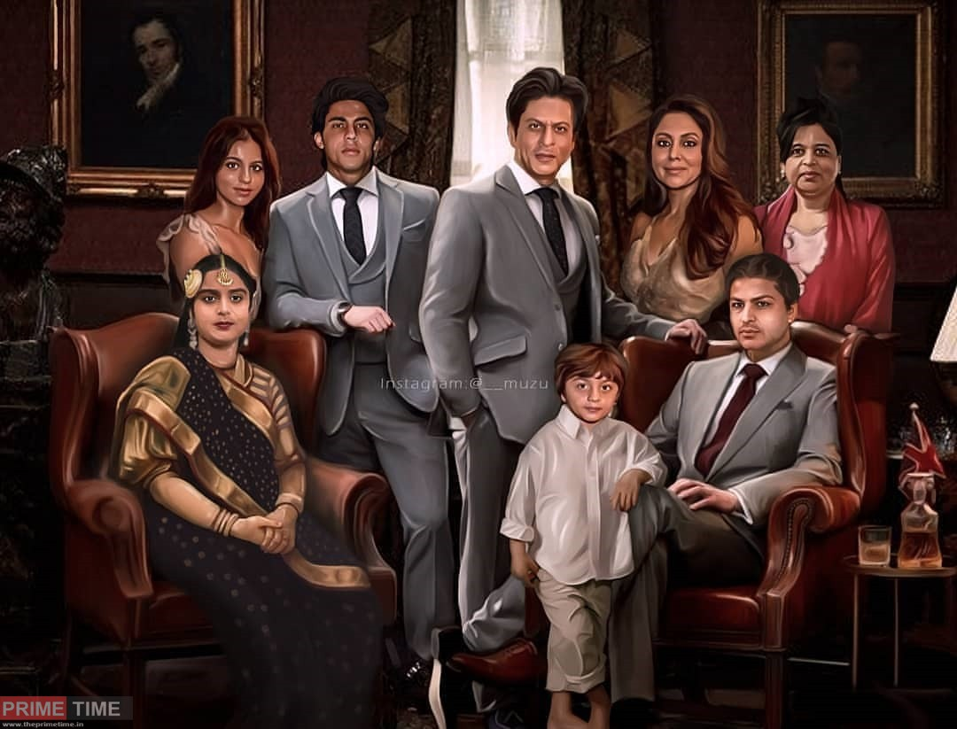 Fan captures Shahrukh Khan's entire family in a portrait