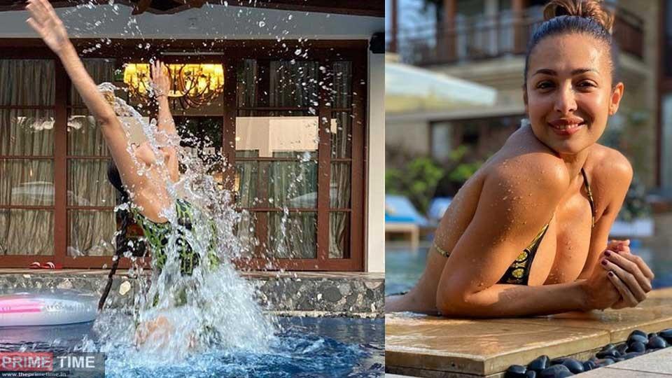 Malaika Arora posing in a swimming pool