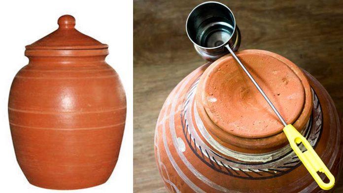 water in earthen pot